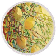 Four Lemons Round Beach Towel