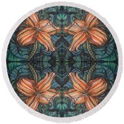 Four Lilies Looking In Round Beach Towel