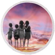 Four Little Friends Round Beach Towel by Charuhas Images