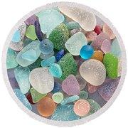 Four Marbles And A Rainbow Of Beach Glass Round Beach Towel