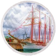 Four Masted Schooner In Port Round Beach Towel