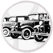 Round Beach Towel featuring the photograph Four Model A's by Steve McKinzie