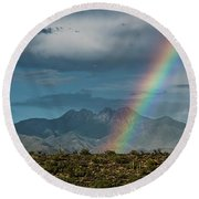 Round Beach Towel featuring the photograph Four Peaks Rainbow  by Saija Lehtonen