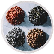 Four Piles Of Superfoods On Light Background. Round Beach Towel