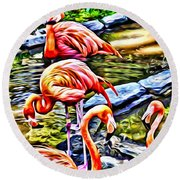 Round Beach Towel featuring the painting Four Pink Flamingos by Joan Reese