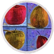 Four Square Fruit Round Beach Towel by Kirt Tisdale