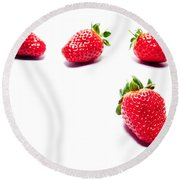 Four Strawberries Round Beach Towel
