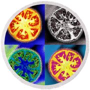 Four Tomatoes Round Beach Towel by Nancy Mueller