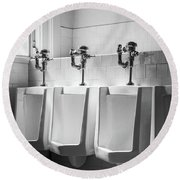 Four Urinals In A Row Bw Round Beach Towel