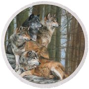 Round Beach Towel featuring the painting Four Wolves by David Stribbling