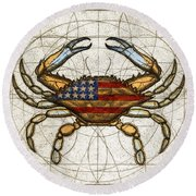 Round Beach Towel featuring the painting Fourth Of July Crab by Charles Harden