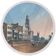 Round Beach Towel featuring the painting Fourth Street. West From Vine by John Caspar Wild