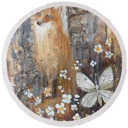 Fox And Butterfly Round Beach Towel