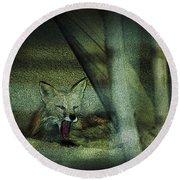 Fox Cry Round Beach Towel