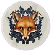 Fox Embellished Round Beach Towel