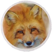 Fox Face Taken From Watercolour Painting Round Beach Towel