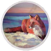 Fox II Round Beach Towel