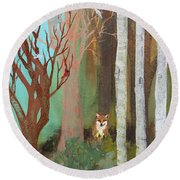 Fox In The Forest  Round Beach Towel