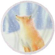 Fox In The Snow Round Beach Towel by Taylan Apukovska