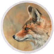 Fox Portrait Round Beach Towel by David Stribbling