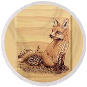 Fox Pup Round Beach Towel by Ron Haist