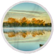 Fox River Above Mchenry Dam At Sunrise Round Beach Towel