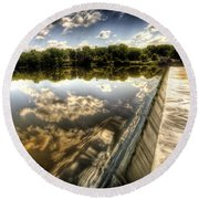 Fox River At The Geneva Dam Round Beach Towel