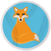 Fox Sitting Illustration Round Beach Towel