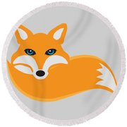 Fox With Tail Illustration Round Beach Towel