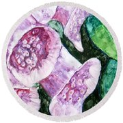 Foxgloves Round Beach Towel by Laurie Morgan