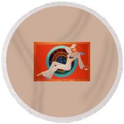 Round Beach Towel featuring the painting Foxy Lady  by Alan Johnson