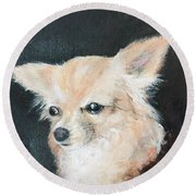 Round Beach Towel featuring the painting Foxy Lady  by Bonnie Heather