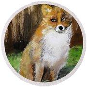 Foxy Lady Round Beach Towel by Carole Robins