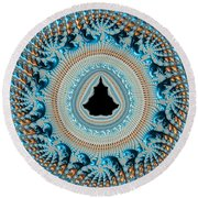 Fractal Art Crochet Style Blue And Gold Round Beach Towel
