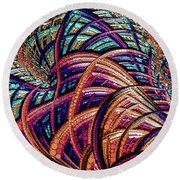 Round Beach Towel featuring the painting Fractal Farrago by Susan Maxwell Schmidt