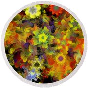 Fractal Floral Study 10-27-09 Round Beach Towel by David Lane