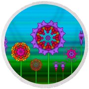 Whimsical Fractal Flower Garden Round Beach Towel