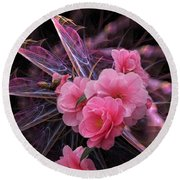 Fractal Meets Camellia  Round Beach Towel