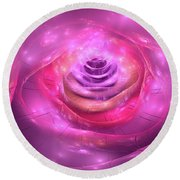 Fractal Rose Pink Purple And Orchid Round Beach Towel