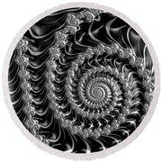 Fractal Spiral Gray Silver Black Steampunk Style Round Beach Towel by Matthias Hauser