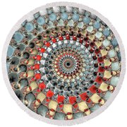 Fractal Spiral Red Grey Light Blue Square Format Round Beach Towel