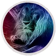 Round Beach Towel featuring the digital art Fractalius Lion by Zedi