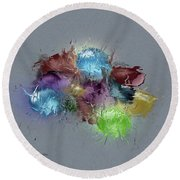 Fractured Bouqet 1 Pc Round Beach Towel