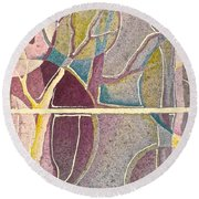 Fractured Round Beach Towel by Carolyn Rosenberger