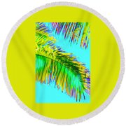 Fragment Of Coconut Palm Psychedelic Round Beach Towel