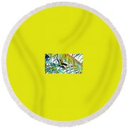 Fragment Of Palm In Blue Round Beach Towel