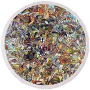 Round Beach Towel featuring the painting Fragmented Horse by James W Johnson