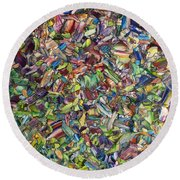 Round Beach Towel featuring the painting Fragmented Spring by James W Johnson