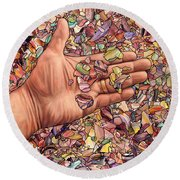 Fragmented Touch Round Beach Towel