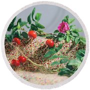 Round Beach Towel featuring the photograph Fragrant Rugosa Rose With Rosehips And Leaves by Nancy Lee Moran